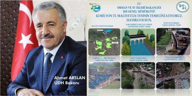 UDH Bakanı Ahmet Arslan, Kars'ta 42 milyon TL'lik 6 tesisin temelini atacak
