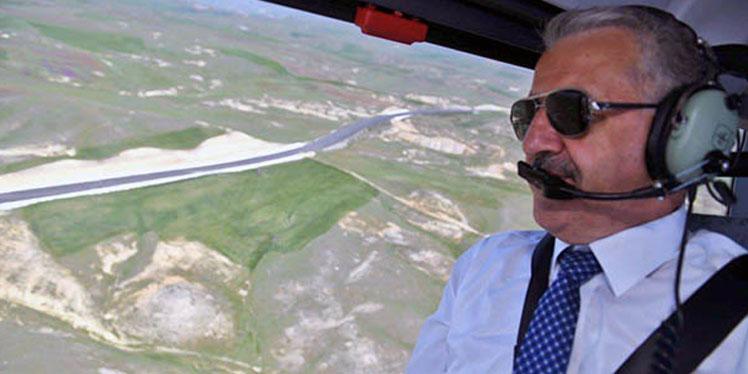UDH Bakanı Arslan, Karakurt-Erzurum yolunu havadan inceledi