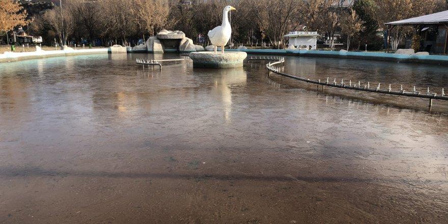 Kars'ta süs havuzları dondu