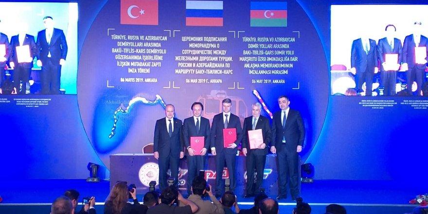 Bakü-Tiflis-Kars Demiryolu Mutabakat Zaptı İmza Töreni Düzenlendi