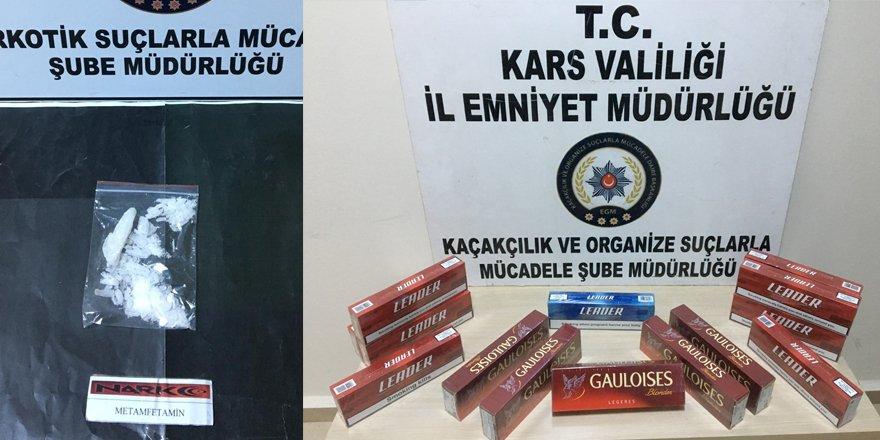 Kars'ta uyuşturucu ve kaçak sigara ele geçirildi