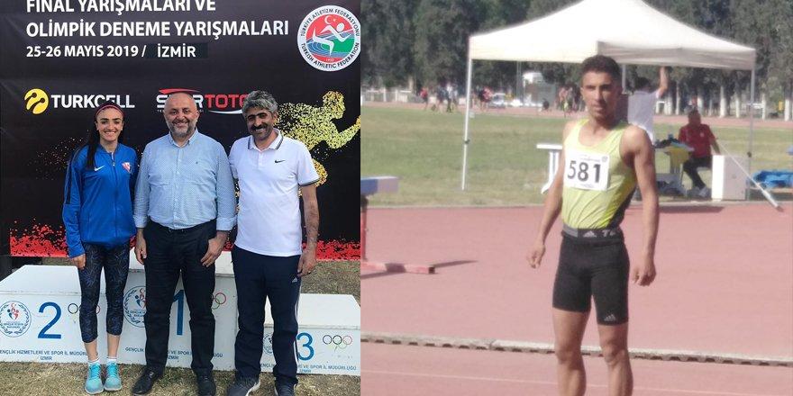 Karslı atlet Tuğba Toptaş ve Hakan Buğanli Türkiye şampiyonu oldu