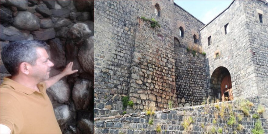 Kars Kalesi surları üzerindeki ıslaklık tehlike oluşturabilir!