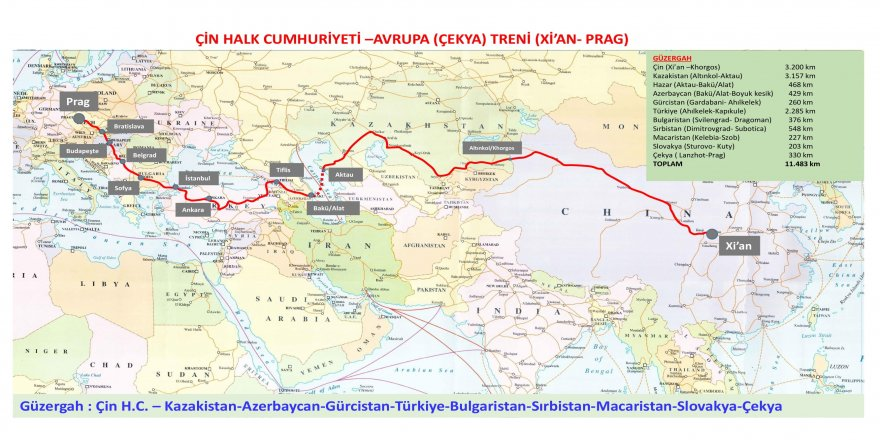 Bakü-Tiflis-Kars Demiryolu ile Çin'den gelen ilk yük treni, Marmaray'dan geçip Prag'a ulaşacak