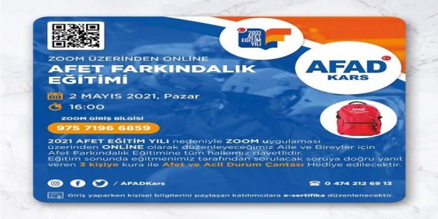 Kars AFAD, Zoom üzerinden online afet farkındalık eğitimi verecek