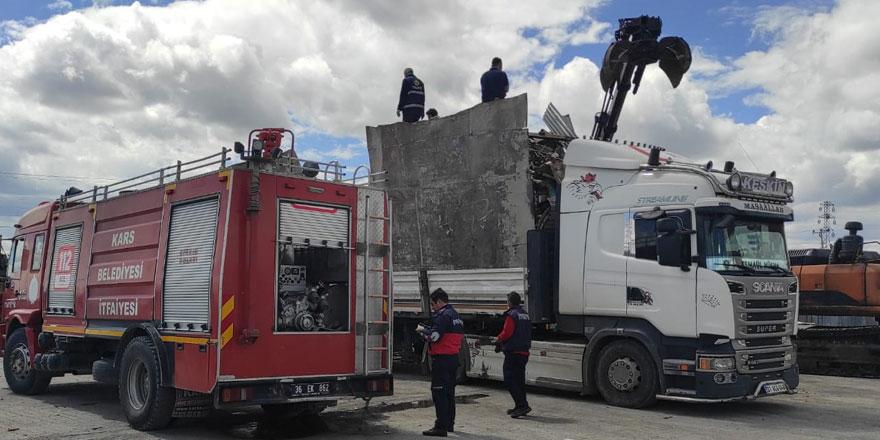 Kars'ta geri dönüşüm firmasında yangın