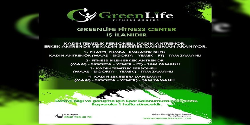 Greenlife Fitness Center'den İş İlanı