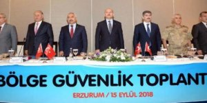 """İçişleri Bakanı Soylu Erzurum'da """"Bölge Güvenlik Toplantısı""""na katıldı"""