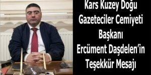 Gazeteciler Cemiyeti Başkanı Ercüment Daşdelen'in Teşekkür mesajı