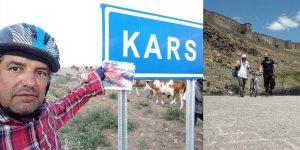 Bisikleti 'şükrü' ile Edirne'den Kars'a 1881 kilometre pedal çevirdi